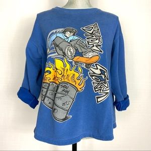 Vintage 90s blue pullover sweater with graffiti